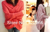free shipping 2013 The new fall and winter clothes bat sleeve cardigan knitting needle loose shawl ladies thick coat