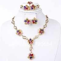 Elegant Italina Rigant Elegant 18 K Gold Plated Jewelry Set With Shining Colorful Crystal Rhinestone Flower Jewelry Sets