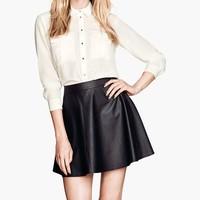 NO STOCK!! European Style Fashion PU Leather Skirts for Autumn Winter Woman Zipper Fly Lady Mini Skirts Black 092817