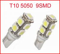 Wholesale 100pcs/lot T10 9SMD 5050 Car 194 168 192 W5W LED Light Automobile Bulbs Lamp Wedge Interior Light