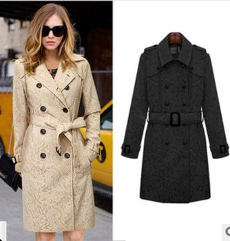 2014 winter star models ladies double-breasted coat with Кружево pattern coat Абрикосовый ...