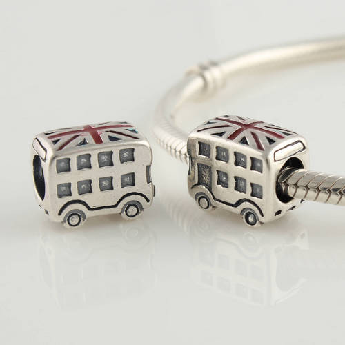 Genuine 925 Sterling Silver Double-Decker Bus Screw Bead Jewelry with National Flag, Suitable for Pandora Bracelet DIY LW103(China (Mainland))