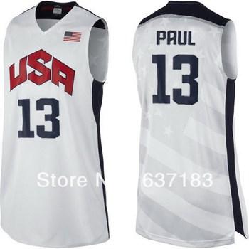 Mens Cheap #13 Chris Paul White/Blue Dream 10 Sport Jersey,2012 London Olympic Game Team USA Basketball Kits Set (Shirt+Short)