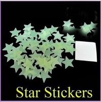 (mix order>$10,freeshipping)creative luminous star wall sticker /fluorescence stick (100pcs)3 d wall stickers (christmas gift )