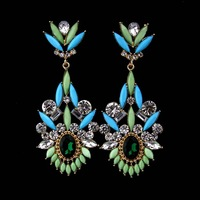 Handmade Hot Sell costume Resin Rhinestone Drop dangle Earrings,2013 New Vintage fashion Jewelry accessories, Free shipping