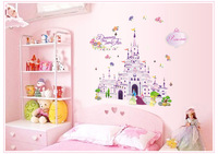 Wholesale Wall Stickers New Large Princess Castle Removable 3D DIY PVC Cartoon Girls Room Art Decal 60x90cm  20pcs/lot