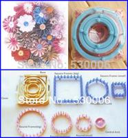 9 pcs/set Knitting Flower Pattern Loom Maker Weaver,6 Sizes Round/Square/Heagonal Frame Wool Yarn Needle Home Craft DIY Tool