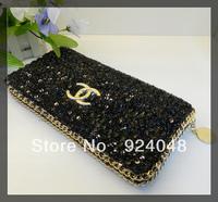 2013 Trend women's paillette day clutch fashion black long design purses fashion evening bag black and blue