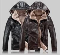 2013 New Winter Plus Size M-XXXL XXXXL 4XL 5XL Men Fur Leather Hooded Jacket Coat Male Hoodie Outwear Man Parka Autumn Fall