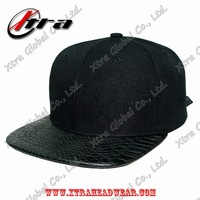 Acrylic and snakeskin leather strapback cap fashion baseball cap and hat Hiphop streetwear cap dance cap