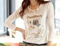 Free Shipping 2013 Women Long Sleeve Basic Shirt Sequined Embroidary Fashion All Matching T Shirts XL XXL Big Size Women Shirt
