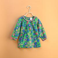 free shipping  CS3144  girls kids cotton printed flower dress blouse