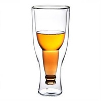 Free shipping Creative Beer Cup Durable Double Wall Glass Hopside Down