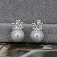 Jewelry zirconium  925 pure silver natural pearl shell bead stud earring q003