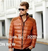 Free shipping 2013 new men's down jacket , leather down coat, Men's coat Winter overcoat Outwear Winter jacket wholesale
