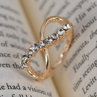 Free Shipping Charm women Fashion Jewelry 8 infinity with crystal rings Golden size 16mm-19mm