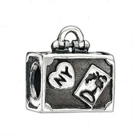 New Free Shipping 1pc  NY Box Silver Bead Charm European Alloy Box Bead Fit BIAGI Bracelet H728