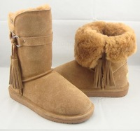 Women Winter Warm Side Buckle Bear Paw Knee-high Boots Cow Muscle Outsole Cowhide Wool Tassel Snow Boots Shoes