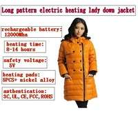 long pattern electric heating lady down jacket, with 12000mha rechargeable battery,keep warm 14hour warm,yellow