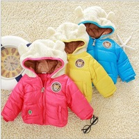 Winter thickening cotton-padded clothes with long sleeve  cute teddy bear hooded children's coat  children's winter wear #13C035