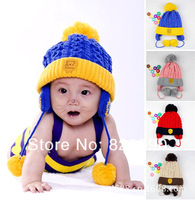 4 colors! Free Shipping 2013 winter christmas child hat The new solid color and velvet baby wool hat  4pcs/lot