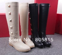 2013 Newest Brand Designer Fashion Rivets Tall Boots,Genuine Leather Short or Knee High Boots,Women's Flat Boots 34-40 size