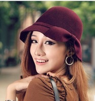 Autumn and winter vintage british style woolen fedoras bow women's bucket hats beret