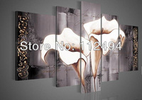 Home decoration Framed hand-painted artwork Calla Lily flowers Still life oil painting on canvas 5pcs/set  Free shipping F/0100
