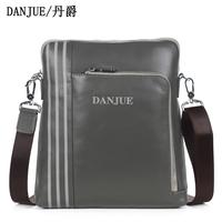 Men's genuine Leather Grey/Black shoulder bag messenger bag Silky Cotton Aglet