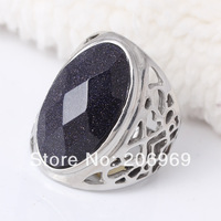 Wholesale Lot 4 Pcs Stainless Steel Big Rings For Women Natural Stone Exaggerated Jewelry Hot Sale Free Shipping Size 9-12(W083)