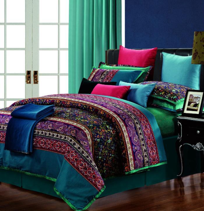 Luxo 100% algodão egípcio paisley consolador conjunto de cama para queen size rei capa de edredão cama em um saco folha colcha colcha de 30(China (Mainland))