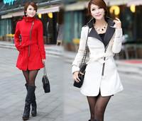 2014 Winter Women's Plus Size Casacos Femininos Jackets Woollen Trench Coat For Womens Desigual Brand Fashion Belt Ladies Coats