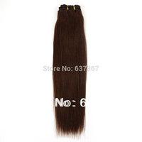 "12""-26""#4MediumBrown Brazilian Virgin Remy Hair Silky Straight Pure Human Hair Weave Hair Weft   Hair Products Free Shipping"