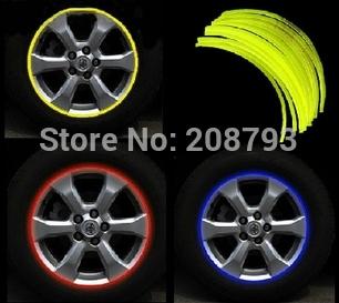 "16 Strips 14-18"" Wheel Reflective Car Motorcycle Rim Sticker,WHEEL Rim Stripe Decal sticker,Waterproof Rim Sticker(China (Mainland))"