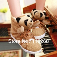 keep warm shoes The panda shoes Sweet lace-up  Casual shoes with flat Personality for women's shoes 2014 cute cartoon