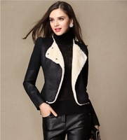 2013 Winter New Hot Fashion Leisure Europe Woolen Splice Female Coat Locomotive Leather clothing Jacket 1827 Free shipping