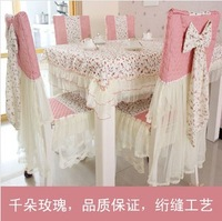 Free shipping, high quality lace tablecloths, romantic rose color printing tablecloths, chair covers, cushions, wedding party