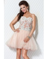 Fashion A Line  Sweetheart Mini short Cocktail Dress Sexy Beading Flower Organza  See through Party Dress graduation gowns A257