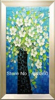 Free shipping!Huge 100% hand painted  white Apricot Art palette knife textured oil painting on canvas wall art canvas