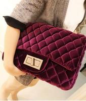 Free Shipping Purple gold velvet shoulder bag vintage bag fashion women's handbag dimond plaid bag lockbutton black bag chain