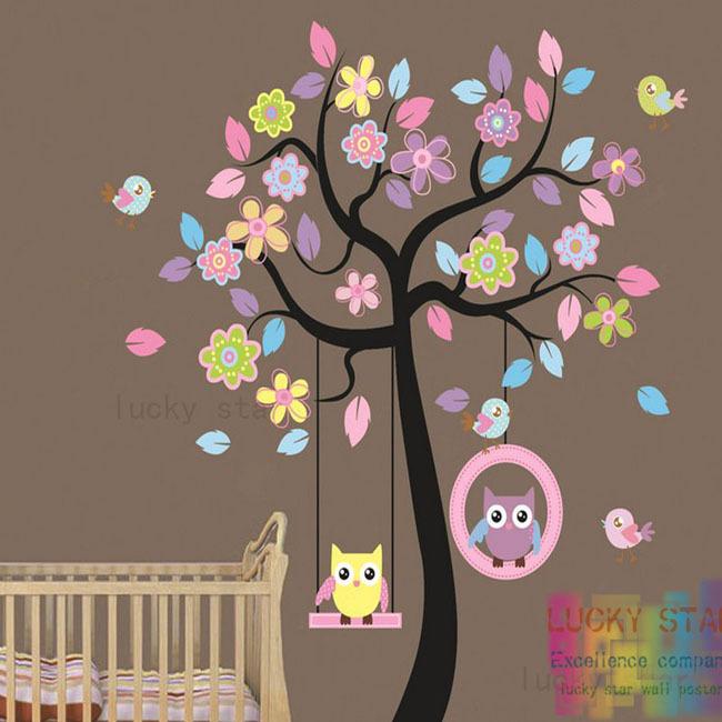 Livraison gratuite grand hibou oiseau arbre balan oire for Bricolage chambre bebe