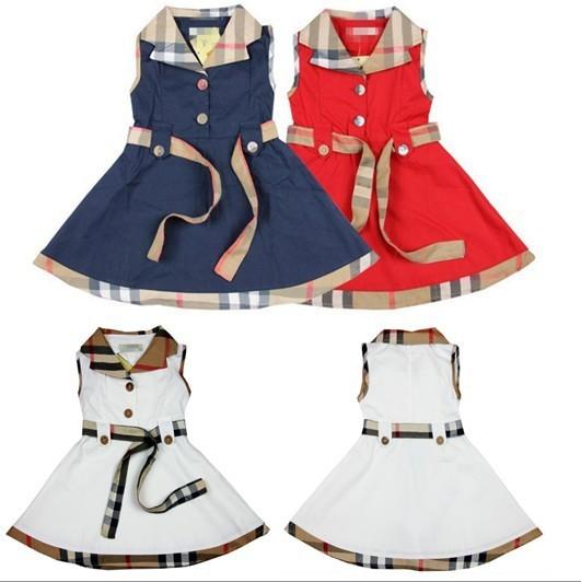 1 stück baby mädchen ärmellose kleider für 2-6yrs kinder karierte kleid kinder sommerkleidung British style prinzessin marine rot weiß