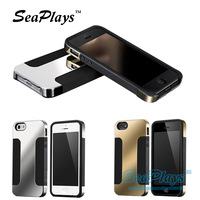 SeaPlays New Arrival Luxury Blade PC Soft TPU Case Cover For iPhone 4 4S Free Screen Retail Packing Gold Silver
