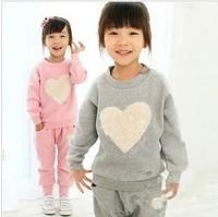 Retail 1pcs love clothing kids girls clothes sets,baby girl long sleeve + pant set Children love sports kids clothing sets