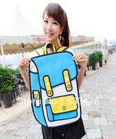 4 colors  fashion women bags 3d cartoon bag 2d schoolbag Free Shipping
