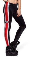 EAST KNITTING BL-152 New Arrival Mass Effect N7 Wet Look Galaxy Leggings Black leather Look Pants free shipping