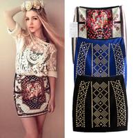 Vintage Style Fashion Slim Fit Stretch Printed Rivet /Rhinestone Mini Skirt Size S M L