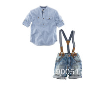 NEW Boys 2pcs sets 210420 Children Sling leisure cowboy sling suits kids jeans + shirts outfits Autumn clothes In stock