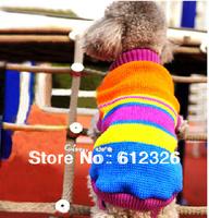 Cute Puppy Pet Cat Dog Sweater Knitwear Coat Apparel Clothes Blue Grid Pet costumes XS-XL