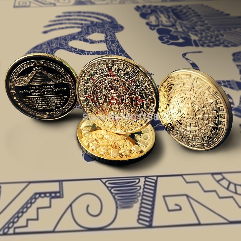 Mix 2 design sample order Free Shipping 1oz 24K Gold Plated Mayan/Mayan Calendar Aztec Coin,Mayan Prophecy Coin 10pcs/lot(China
